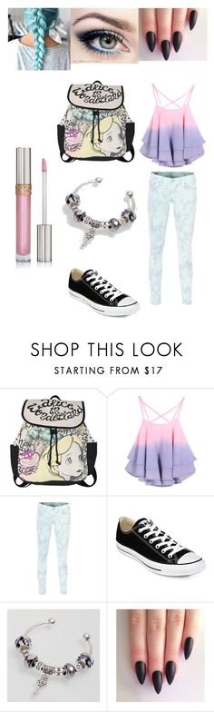 """""""cotton candy madness"""" by rag-doll0 ❤ liked on Polyvore featuring Disney, True Religion, Converse and Cuteberry"""