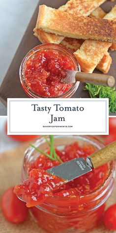 Tangy & Sweet Tomato Jam - Homemade Jam Recipe - Tangy and sweet, tomato jam is excellent on everything from grilled cheese to deviled eggs, hamburgers and charcuterie boards. Cherry Tomato Jam Recipe, Fresh Tomato Recipes, Jelly Recipes, Sauce Recipes, Burger Recipes, Tomato Jelly, Preserving Tomatoes, Preserving Food, Bacon Jam