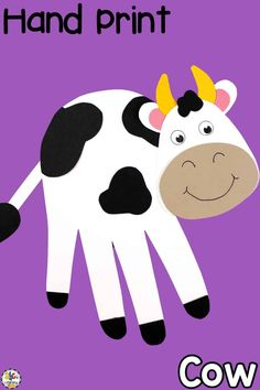 Hand Print Cow Craft For Developing Fine Motor Skills