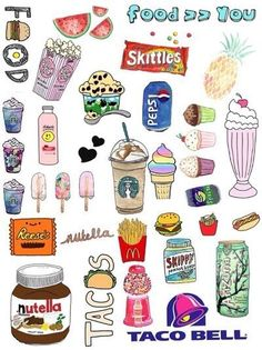 Trendy Ideas For Wallpaper Iphone Cute Doodles Phone Wallpapers Food Stickers, Phone Stickers, Journal Stickers, Cute Stickers, Planner Stickers, Wort Collage, Image Swag, Tumblr Stickers, Aesthetic Stickers