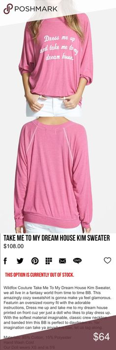 NWT Wildfox Pink Dream House Slouchy Sweater XS New with tags Wildfox 'dress me up and take me to my dream house' slouchy pink sweater from their Barbie collection. Size XS & in perfect condition! Wildfox Sweaters Crew & Scoop Necks