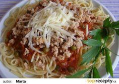 Špagety se sójovým masem recept - TopRecepty.cz Japchae, Tofu, Cabbage, Yummy Food, Delicious Recipes, Spaghetti, Meat, Chicken, Vegetables