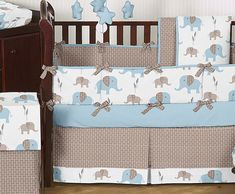 Cheap Blue Brown Elephant Baby Bedding Crib Set Boy Room Collection Comforter