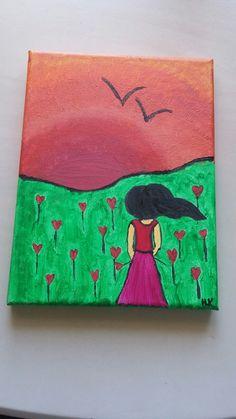 Girl & sunset on a meadow II.
