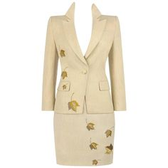 GIVENCHY Couture A/W 1998 ALEXANDER McQUEEN 3 Pc Suit Jacket Skirt Pants Set   From a collection of rare vintage suits, outfits and ensembles at https://www.1stdibs.com/fashion/clothing/suits-outfits-ensembles/
