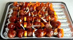 Recipe: Meatball skewers with barbecue sauce. Sauce Barbecue, Bbq, Skewers, Sausage, Steak, Garlic, Dessert Recipes, Asian, Dishes