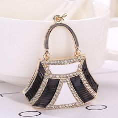 53355bce1 Handbag Shape Rhinestone Tassel Keychain Bag Handbag Key Ring Car Key  Pendant
