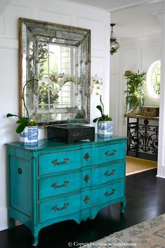 Antique Mirror and Teal/Turquoise Dresser in Entry Way