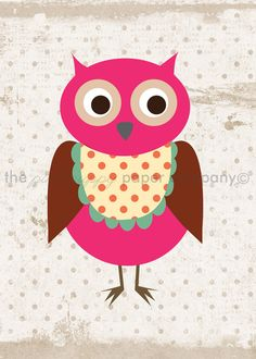 Set of 3 5x7 Sweet Owl Prints you choose by pinkpuppypaperco