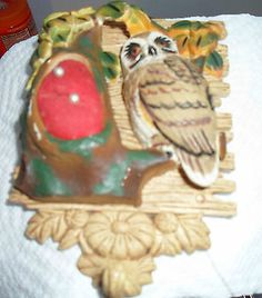 VINTAGE BLOWN OUT OWL PIN CUSHION WALL HANGER WITH SMALL HOOK