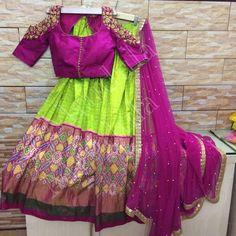 Parrot green lehenga and magenta cutout choli Half Saree Lehenga, Kids Lehenga, Saree Dress, Lehenga Blouse, Green Lehenga, Dress Skirt, Sarees, Half Saree Designs, Lehenga Designs