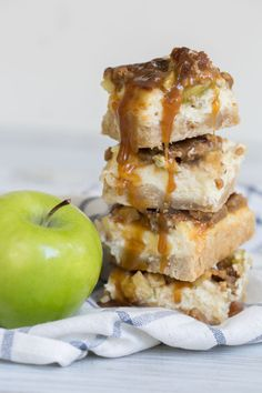 The BEST Caramel Apple Cheesecake Bars!!