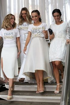 38 ideas bridal shower outfit ideas the bride Bachelorette Outfits, Bachelorette Weekend, Shower Outfits, Shower Dresses, Team Bride, Bride Shower, Bridal Party Shirts, Bridesmaid Dresses, Wedding Dresses