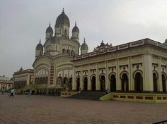 The Temple of goddess Kali at Dakshineswar on the banks of the Hugli  River , Kolkata , India ..     Famous as former residence of    swami Ramakrishna Paramahamsa .