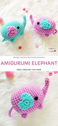 Amigurumi Elephant Free Crochet Pattern Adorable Amigurumi Crochet Toys Those elephants are just the cutest They are the perfect size to make a key chain out of them or just Crochet Animal Patterns, Crochet Patterns Amigurumi, Stuffed Animal Patterns, Crochet Animals, Amigurumi Doll, Crochet Dolls, Crochet Crafts, Crochet Projects, Knitting Patterns