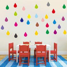 Rainbow Raindrop Confetti Wall Stickers, Nursery, Child, Teen, Home, Rain, Art