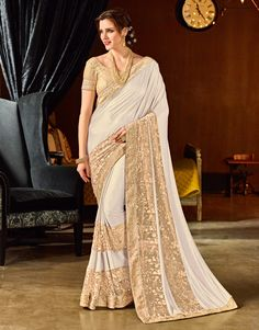 Indian Women Off-white & Beige Color Jacquard Fashionable Saree White Beige, Off White, Plain Chiffon Saree, Golden Saree, Raw Silk Fabric, Jacquard Fabric, Satin Saree, Designer Sarees Online, Latest Sarees