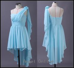 cheap bridesmaid dresses.one shoulder bridesmaid dresses.baby blue bridesmaid dresses.chiffon bridesmaid dresses.short bridesmaid dresses by Angelonlinedress on Etsy