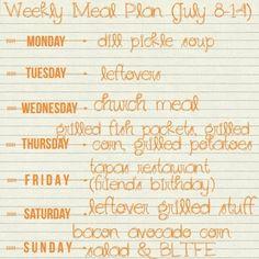 Week 34 meal plan  menu planning Kasia's