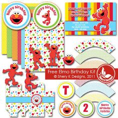 Free SVG and Pintable Elmo Birthday Kit