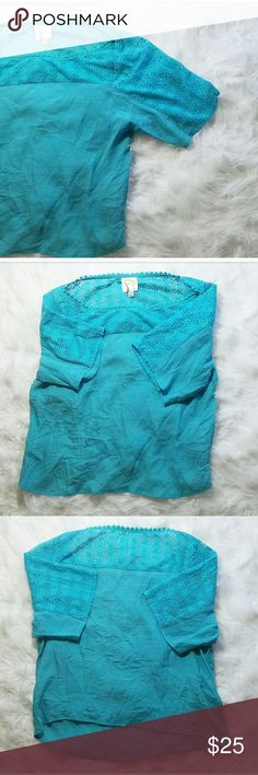 Anthropologie Fig & Flower Crochet & Linen Top Lovely teal top! Crochet neckline and top of sleeves! Linen bodice! Gently used. Brand is Fig & Flower from Anthropologie. Anthropologie Tops Blouses