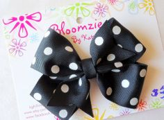 Girls Black with White Polka Dot Hair Bow by Bloomzies on Etsy, $3.00