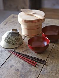 Japanese Traditional Tableware (Rice Bowl, Wooden Rice Serving Bowl with Paddle, Miso Soup Cup and Chopsticks)