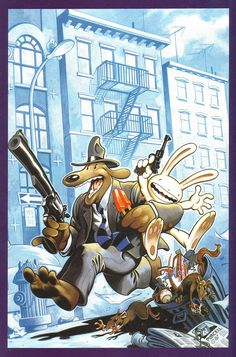 """Characters: Sam & Max Comic: Sam & Max: Freelance Police Created by: Steve Purcell Illustrated by: Steve Purcell  """"You crack me up, little buddy."""""""