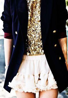 Google Image Result for http://smallshopstudio.com/wp-content/uploads/2011/08/gold-sequin-top-navy-blazer-white-skirt.jpg