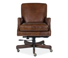 Vintage and antique inspired office chair features tight back and curved arms with an ultra soft cushioned seat in a rich chestnut brown leather.