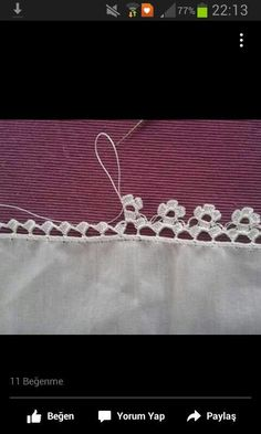 """diy_crafts-Crochet edging with corner ~~ """"This post was discovered by HUZ"""" Crochet Boarders, Crochet Lace Edging, Crochet Trim, Crochet Doilies, Easy Crochet, Crochet Flowers, Knit Crochet, Stitch Crochet, Filet Crochet"""