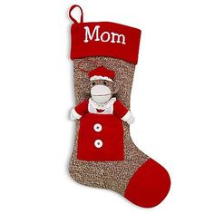 Sock Monkey Stocking - Mrs. Claus and other at PersonalCreations.com