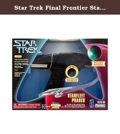 Star Trek Final Frontier Starfleet Phaser. This rare phaser from 1997 features lights and sounds from Star Trek. The toy comes with a sound selection dial, a removable battery clip, a slide-back firing housing, and a light-up beam emitter. Pressing the trigger causes the phaser to light up while the toy plays either a stun or disruption sound.