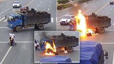 Chinese CCTV footage shows the terrifying collision. Miracle Stories, Dump Truck, Interesting News, Monster Trucks, Survival, Chinese, The Incredibles, Amazing, Chinese Language