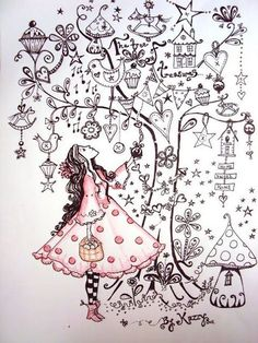 I like this page. A drawing of your Self looking up into a tree full of things that you love. #Zentangle #Christmas #Zentangle Patterns