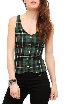 green plaid corset top-hot topic