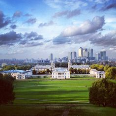 Greenwich Park in London, Greater London - the centre of our system of time zones, with a lovely view on the city