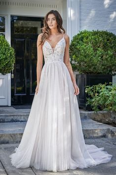 F221060 Dreamy Boho Soft A line Gown with Alencon Lace and English Netting Skirt Dream Wedding Dresses, Boho Wedding Dress, Bridal Dresses, Wedding Gowns, Bridesmaid Dresses, Prom Dresses, Jasmine Bridal, A Line Gown, Dress Silhouette