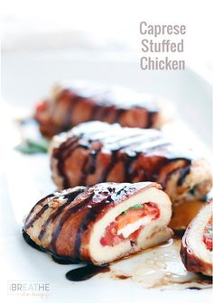 Caprese Stuffed Chicken Shared on https://www.facebook.com/LowCarbZen | #LowCarb #Caprese #Chicken #Lunch #Dinner