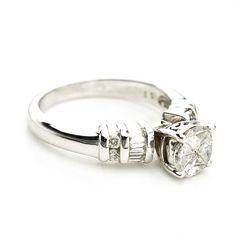 14K White Gold .50 CTTW Diamond Engagement Ring $700  #engagement #Ring #gold