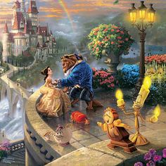 """Thomas Kinkade spoke of an affinty not only with American artist Norman Rockwell but also with Walt Disney, producing artwork that he hoped would make people happy."""" In """"The Disney Dreams Collection 2013 Wall Calendar,"""" Kinkade interprets classic beloved Disney films, such as """"Beauty and the Beast."""""""