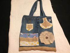 Handmade recycled denim bag by MaxiMaryDesigns on Etsy