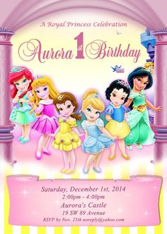 Items Similar To Digital Disney Toddler Princess Invitation