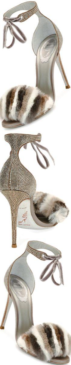Rene Caovilla Fur & Crystal Ankle-Strap 105mm Sandal