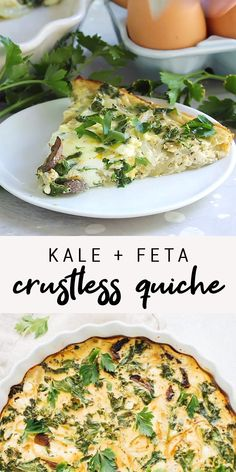 This HEALTHY crustless quiche is such an easy low-carb meal that can be served for breakfast/brunch, lunch or dinner. You'll love the delicious combination of kale, onions, mushrooms and feta! recipes for dinner healthy Kale + Feta Crustless Quiche Healthy Salmon Recipes, Healthy Dinner Recipes, Vegetarian Recipes, Cooking Recipes, Paleo Food, Simple Kale Recipes, Recipes For Kale, Recipes With Feta Cheese, Chicken And Kale Recipes