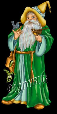 """""""Earth Wizard"""" published in 1990 and the featured design on the cover of a book. © Ladybug Creations."""