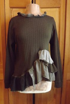 Lagenlook Victorian Inspired Upcycled Ruffled Tunic Shabby Chic One Size Fits