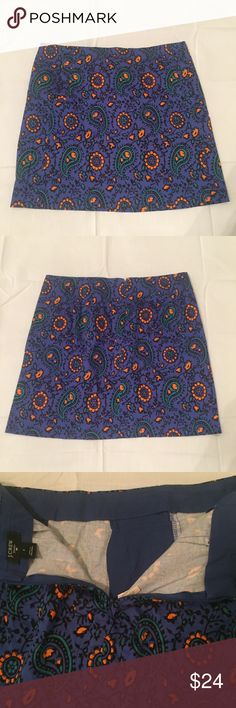 """J. Crew Paisley Blue Stretch Size 2 Mini Skirt J. Crew Paisley Blue Stretch Size 2 Mini Skirt No defects seen Measurements  Length 15"""" J. Crew Skirts Mini"""