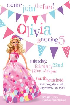 Barbie Theme  Birthday Invitation DIY Printable by CiciandBobos, $9.99