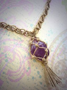 Amethyst Stone and Hemp Necklace / Anxiety Away